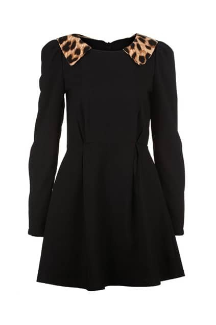 Leopard Collar Black Shift Dress
