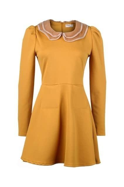 Peter Pan Collar Yellow Shift Dress