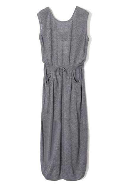 Fitted Drawstring Controlled Waist Grey Dress
