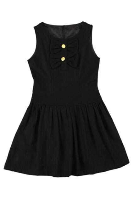 Sweet Fitted Bowknot Black Tank Dress