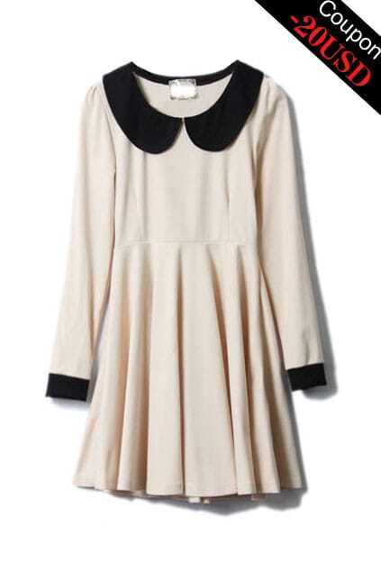 Retro Peter Pan Collar Apricot Dress