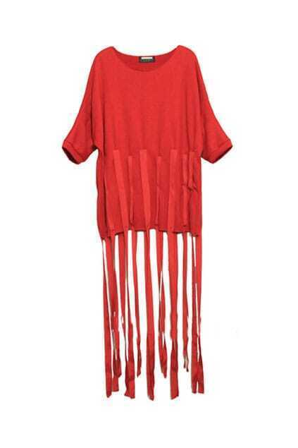 Tassel Style Red Shift Dress