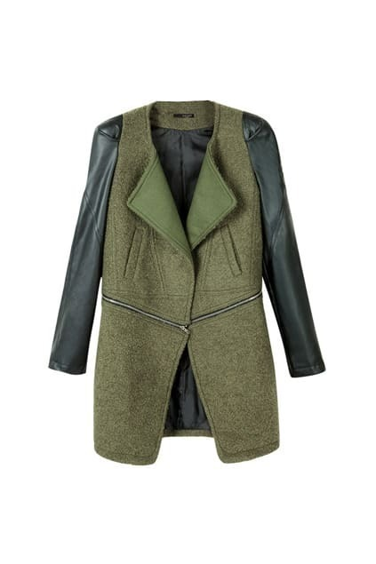 Oversized Lapel Neck Army-green Coat