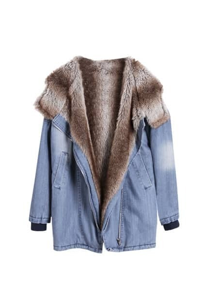 Faux Fur Lining Denim Coat