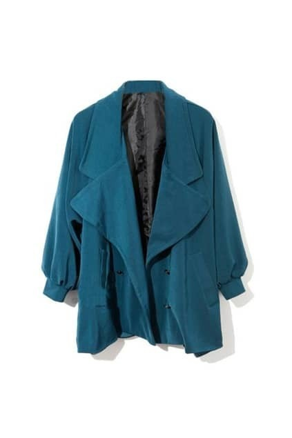 Puff Sleeve Big Lapel Blue Trench-coat