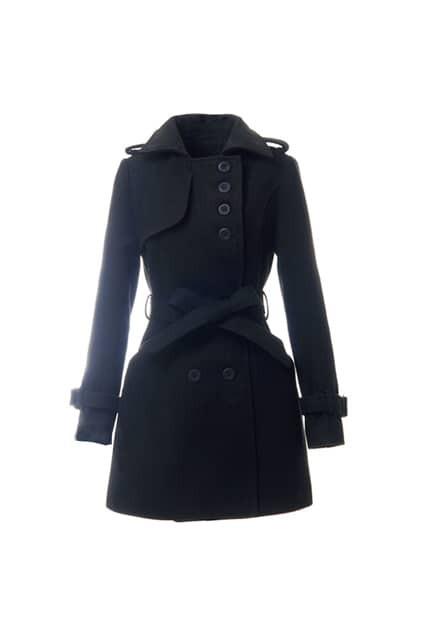 Fitted Belt Epaulette Black Coat