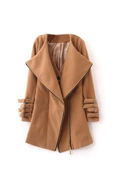 Fitted Zip Anomalous Front Dark-camel Coat