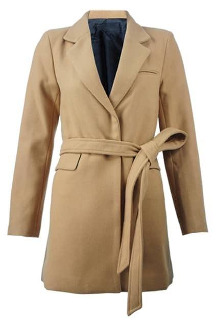 Simple Lapel Fitted Shoulder-pads Camel Coat