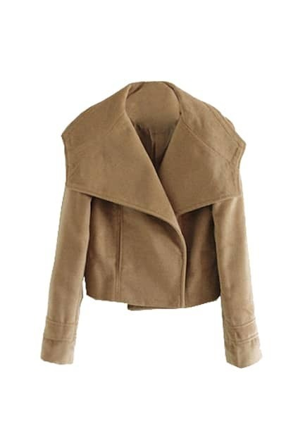 Big Lapel Short Camel Coat