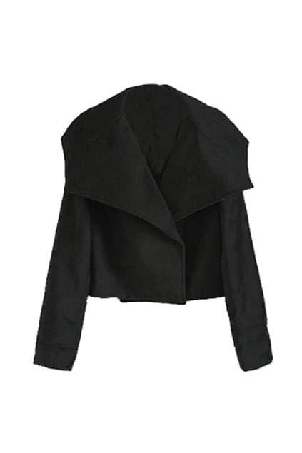 Big Lapel Short Black Coat