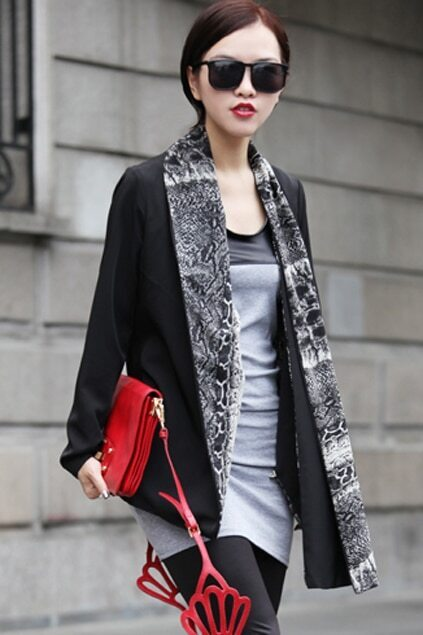 Anomalous Scarf Design Black Coat