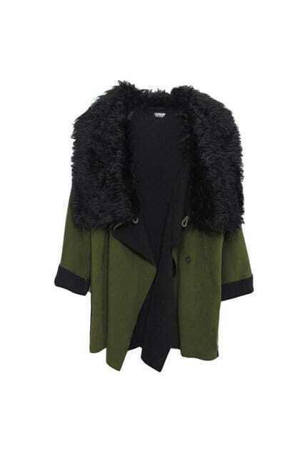 British Style Big Lapel Green Coat