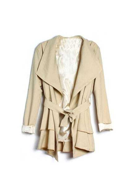 Big Lapel Khaki Trench Coat