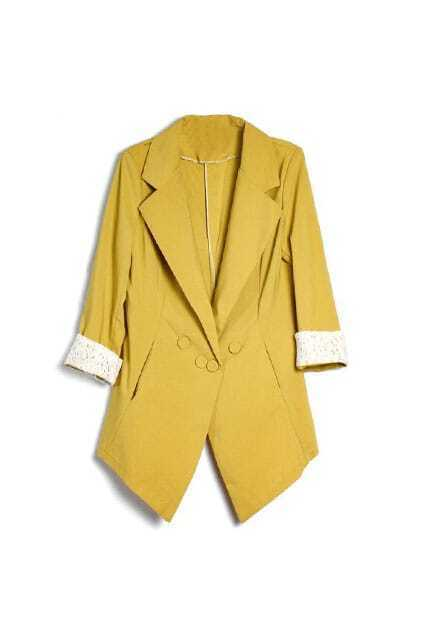Lace Hollow Cuffs Yellow Trench Coat