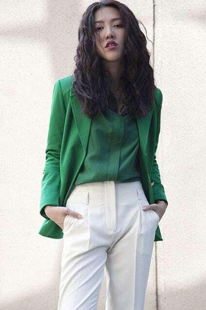 Retro Style Golden Button Green Blazer