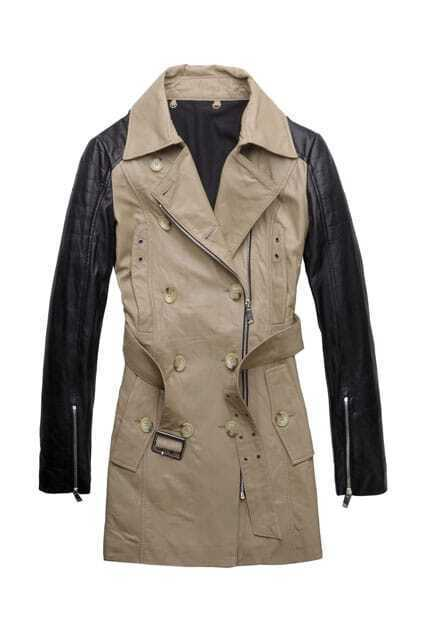 Double-breasted Black-camel Leather Trench Coat