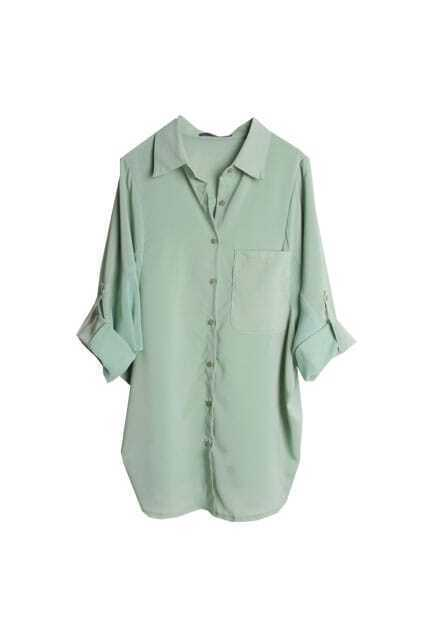 Splicing Chiffon Batwing Sleeve Green Shirt