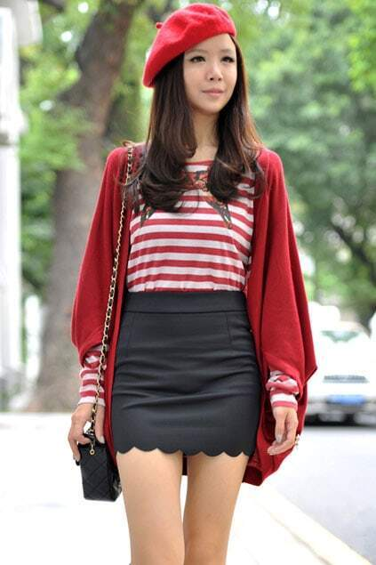 Wild Style Batwing Sleeves Red Coat
