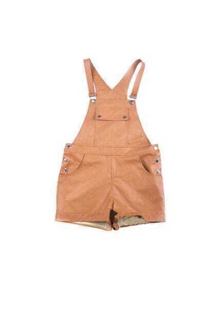 Lovely Brown Suspender Shorts