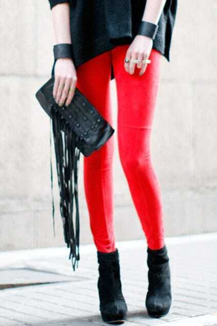 Front Zipping Style Red Pants