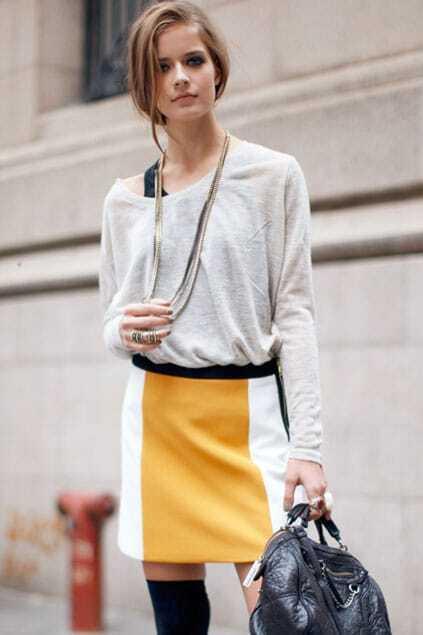 Clolor Block Yellow Skirt
