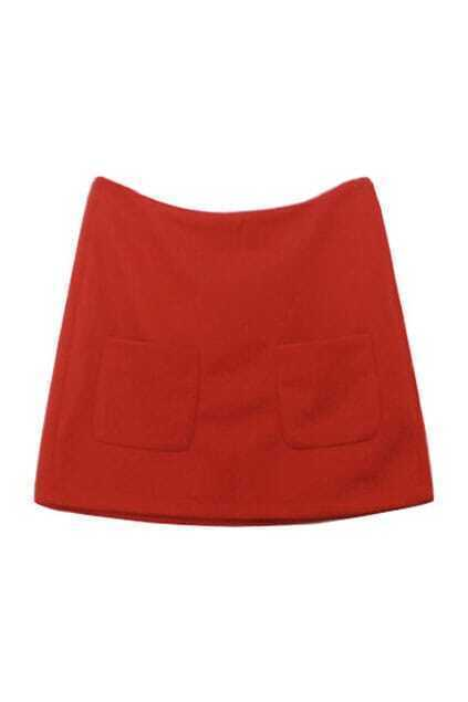 Twin Patch Pockets Red Skirt
