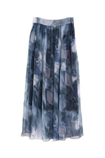 Abstract Print Grey Blue Skirt