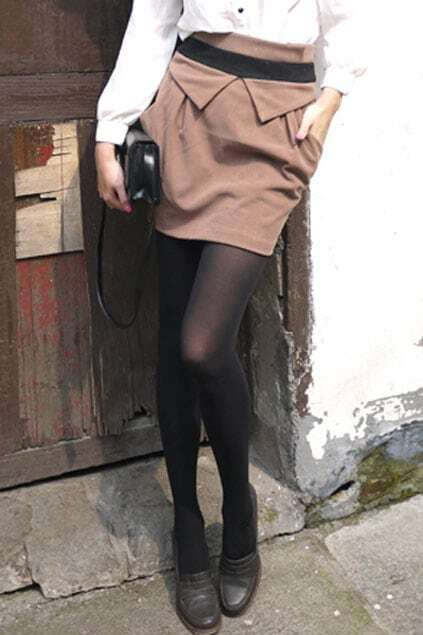 Slim Big Pocket Camel Skirt