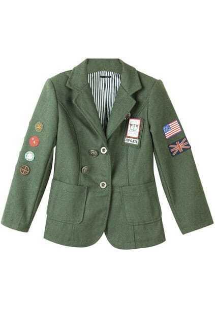 Character Pattern Boyfriend Army-green Blazer