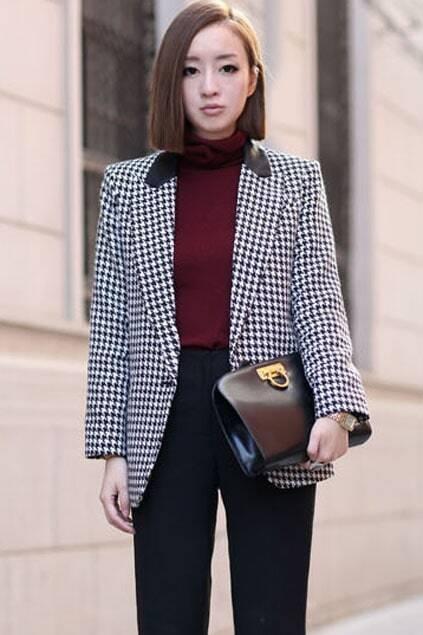 Black-White Grid Style Suit