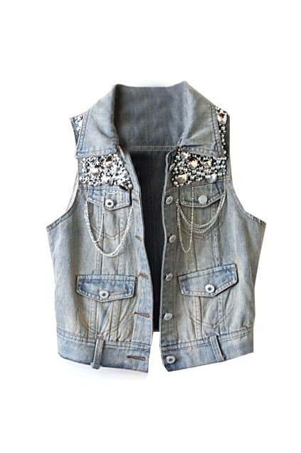 Beaded Light Blue Gilet