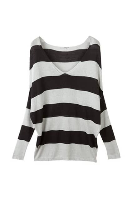 Batwing Sleeve Striped Black-grey Jumper