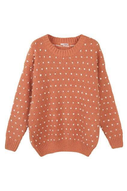 Oversized Chunky Polka Dots Orange Jumper