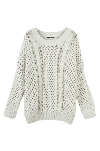 Hollow Oversized Cream Jumper