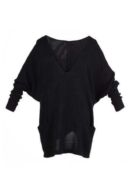 Doule V-neck Black Knitted Jumper