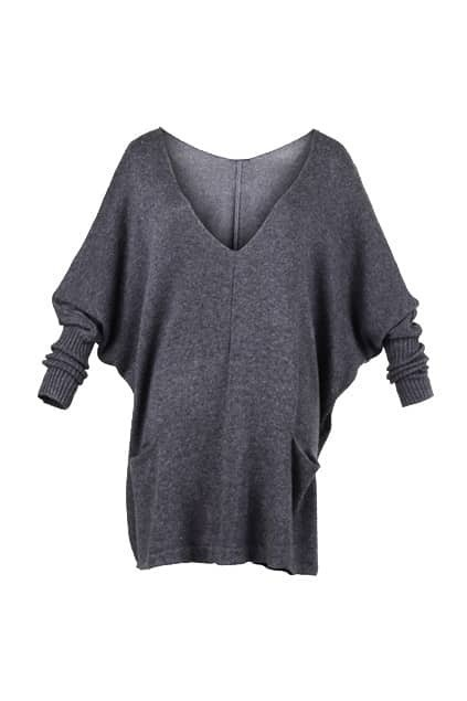Doule V-neck Grey Knitted Jumper