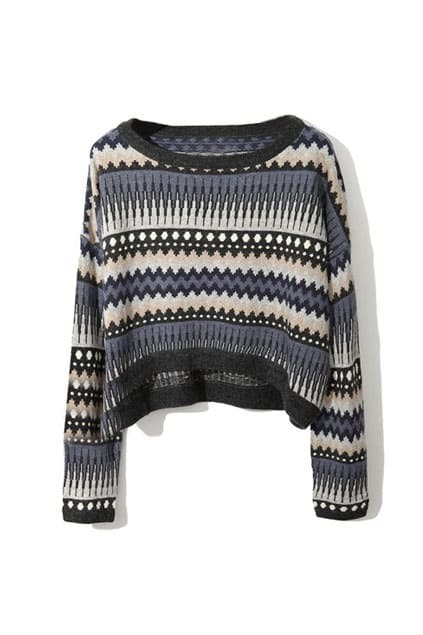 High-waist Retro Tracery Printed Black-blue Jumpers