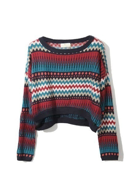 High-waist Retro Tracery Printed Red-blue Jumpers