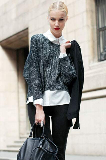 Fitted Sequins Batwing Asymmetric Black Jumpers