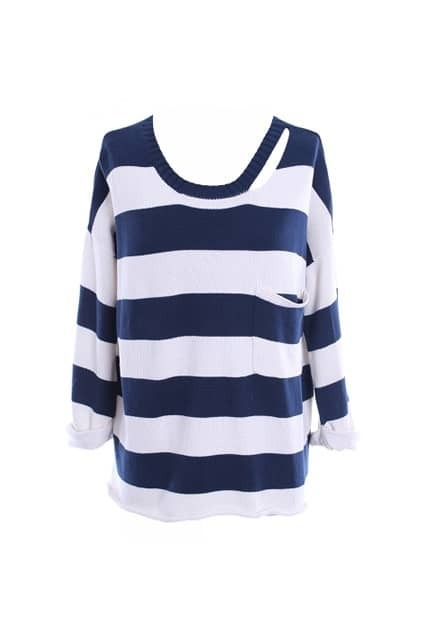 Asymmetric Striped Navy Blue Jumpers