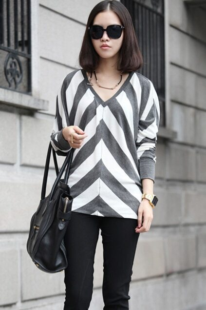 Batwing Sleeves Striped Jumper