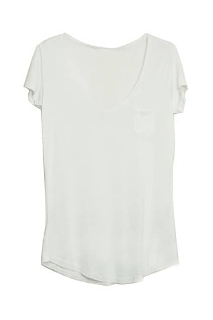 V-Neck Short Sleeves White T-Shirt