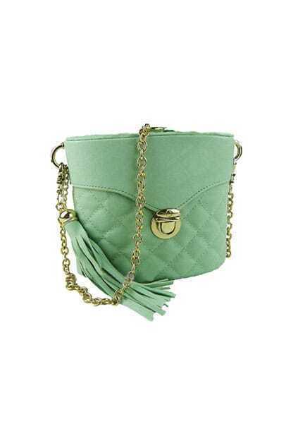 Tassel Embellished Barrel Green Bag