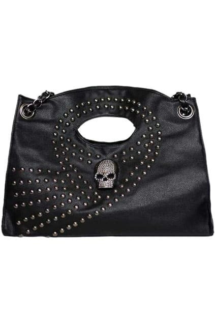 Skull Embellished Rivets Black Bag