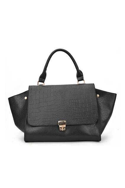 Corocodile Lines Oversized Black Bag