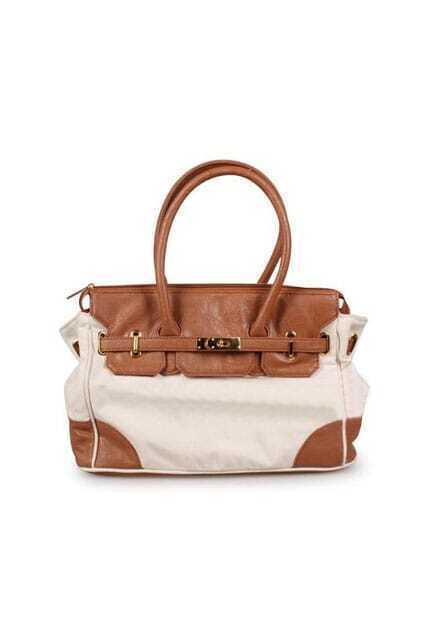 Montage PU Golden-tone Fastening Camel Handbag