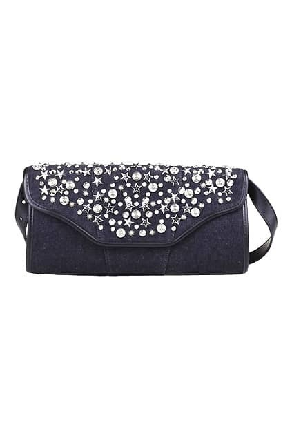 Rivets Embellished Black Clutch