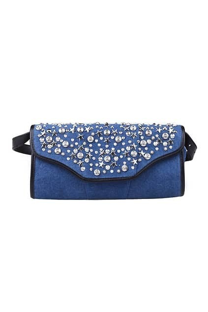 Rivets Embellished Blue Clutch