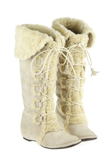 Folded Tall Cream Snow Boots