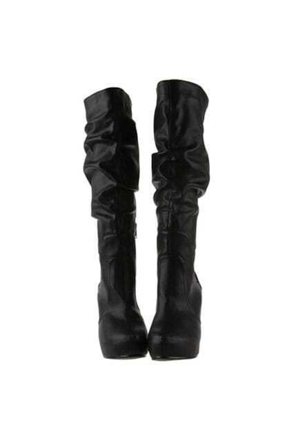 Wedge Heels Black High Boots